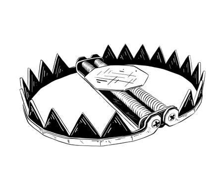 Illustration vectorielle de style gravé pour les affiches, la décoration et l'impression. Croquis dessiné main de piège métallique en noir isolé sur fond blanc. Dessin de style gravure vintage détaillé. Vecteurs