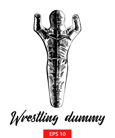 Vector engraved style illustration for posters, decoration and print. Hand drawn sketch of wrestling dummy in black isolated on white background. Detailed vintage etching style drawing.