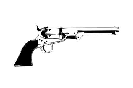 Vector engraved style illustration for posters, decoration and print. Hand drawn sketch of western gun isolated on white background. Detailed vintage etching drawing.