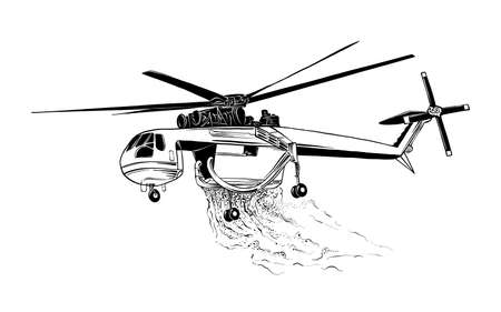 Vector engraved style illustration for posters, logo or emblem. Hand drawn sketch of professional fire helicopter isolated on white background. Detailed vintage etching style drawing.