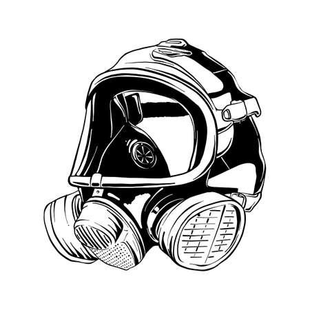 Ilustración de estilo grabado vectorial para carteles, logotipo o emblema. Boceto dibujado a mano de la máscara de gas de bombero aislada sobre fondo blanco. Dibujo detallado de estilo de grabado vintage.