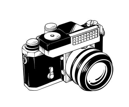 Vector engraved style illustration for posters, logo, emblem, decoration and print. Hand drawn sketch of retro camera in isometry isolated on white background. Detailed vintage etching style drawing.