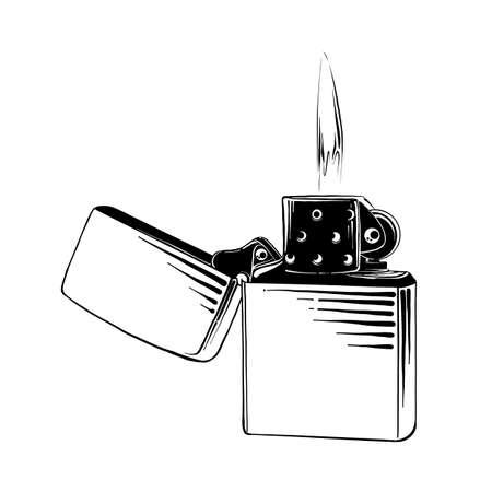 Ilustración de estilo grabado vectorial para carteles, logotipo, emblema, decoración e impresión. Boceto dibujado a mano de encendedor de acero en negro aislado sobre fondo blanco. Dibujo detallado de estilo de grabado vintage. Logos