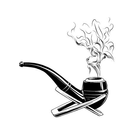 Vector engraved style illustration for posters, logo, emblem, decoration and print. Hand drawn sketch of smoking pipe in black isolated on white background. Detailed vintage etching style drawing.