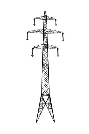 Vector engraved style illustration for posters, logo, emblem, decoration and print. Hand drawn sketch of high voltage power pylon isolated on white background. Detailed vintage etching style. Stock Illustratie