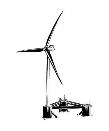 Ilustración de estilo grabado vectorial para carteles, logotipo, emblema, decoración e impresión. Boceto dibujado mano del molino de viento en negro aislado sobre fondo blanco. Dibujo detallado de estilo de grabado vintage. Logos