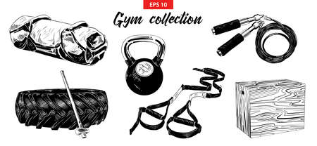 Vector engraved style illustrations for posters, logo, emblem and badge. Hand drawn sketch set of gym and fitness equipment, weight, sandbag, training tire and hummer. Detailed vintage etching drawing