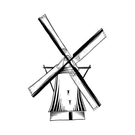 Vektor-gravierte Stilillustration für Poster, Logo, Emblem, Dekoration und Druck. Handgezeichnete Skizze der alten Windmühle in Schwarz auf weißem Hintergrund. Detaillierte Vintage-Radierung-Stil-Zeichnung.
