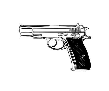 Illustrazione vettoriale in stile inciso per poster, decorazioni e stampe. Schizzo disegnato a mano di pistola o pistola in nero isolato su priorità bassa bianca. Disegno dettagliato in stile incisione vintage.