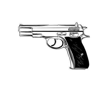 Vector engraved style illustration for posters, decoration and print. Hand drawn sketch of pistol or handgun in black isolated on white background. Detailed vintage etching style drawing.