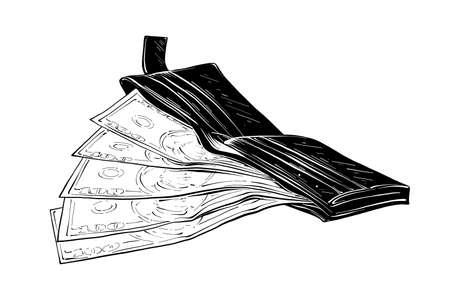 Illustration vectorielle de style gravé pour les affiches, la décoration et l'impression. Croquis dessiné main de portefeuille avec de l'argent en noir isolé sur fond blanc. Dessin de style gravure vintage détaillé.