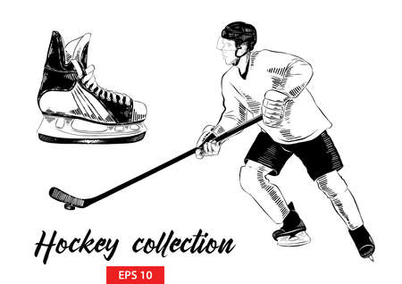 Vector engraved style illustration for posters, decoration and print. Hand drawn set of sketches of ice skate and hockey player with hockey stick in black isolated on white background Stock Illustratie