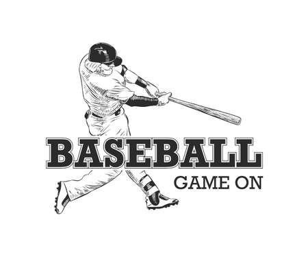Vector engraved style illustration for posters, decoration, t-shirt design. Hand drawn sketch of baseball player with motivational typography isolated on white background. Vintage logo. Game on.