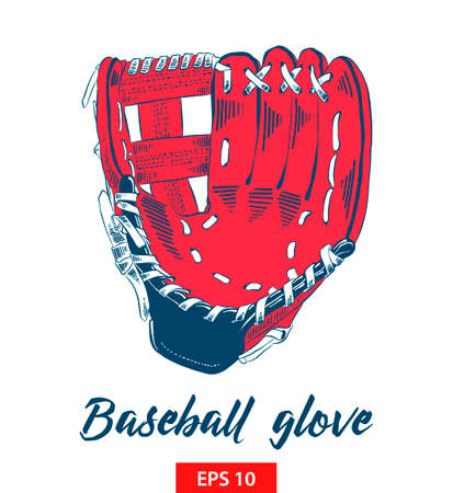 Vector engraved style illustration for posters, decoration and print. Hand drawn sketch of baseball glove in color isolated on white background. Detailed vintage etching style drawing.