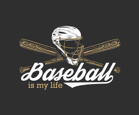 Vector engraved style illustration for posters, decoration, t-shirt design. Hand drawn sketch of baseball helmet and bat with motivational sport typography on dark background. Baseball is my life. Banque d'images - 128610395