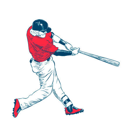Vector engraved style illustration for posters, decoration and print. Hand drawn sketch of colorful baseball player isolated on white background. Detailed vintage etching style drawing. Banque d'images - 128610405