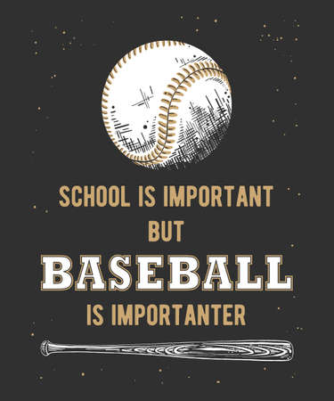 Vector engraved style illustration for posters, decoration and print. Hand drawn sketch of baseball ball and bat with funny sport typography on dark background. Detailed vintage etching style drawing. Banque d'images - 128610403