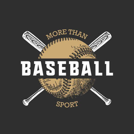 Vector engraved style illustration for posters, decoration, t-shirt design. Hand drawn sketch of ball and bat with motivational typography on dark background.