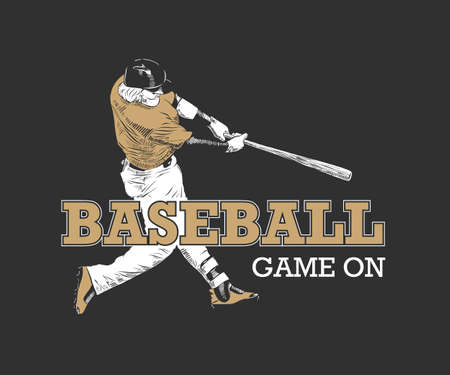Vector engraved style illustration for posters, decoration, t-shirt design. Hand drawn sketch of baseball player with motivational typography on dark background. Banque d'images - 128610407