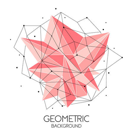 Polygonal pink abstract futuristic template, low poly sign on white background. Vector lines, dots and triangle shapes, connecting network, digital molecules technology, connection structure. 写真素材 - 128610418