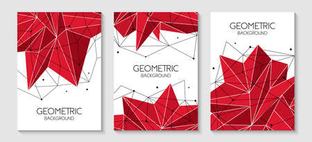 Polygonal abstract futuristic red template, low poly sign. Vector lines, dots and triangle shapes, connecting network. 写真素材 - 128610416
