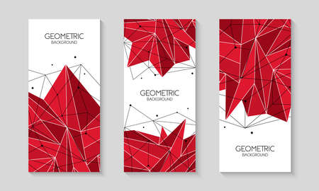 Polygonal red abstract futuristic template, low poly sign on white background. Vector lines, dots and triangle shapes, connecting network. 写真素材 - 128610408