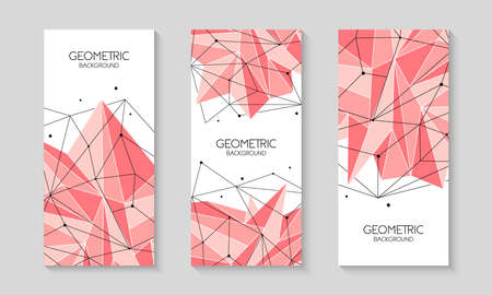 Polygonal pink abstract futuristic template, low poly sign on white background. Vector lines, dots and triangle shapes, connecting network.