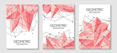 Polygonal abstract futuristic pink template, low poly sign. Vector lines, dots and triangle shapes, connecting network. 写真素材 - 128610423
