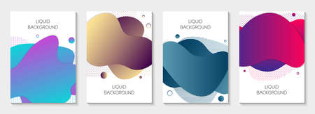 Set of 4 abstract modern graphic liquid banners. Dynamical waves different colored fluid forms. Isolated  templates with flowing liquid shapes. For the special offer, flyer or presentation. 写真素材 - 128610498