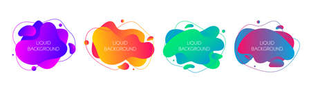 Set of 4 abstract modern graphic liquid elements. Dynamical waves vivid colors fluid forms.