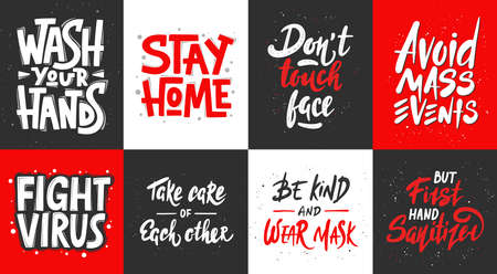 Set of quarantine vector hand drawn unique typography design for posters, decoration, prints. Handwritten motivational lettering. Modern ink brush calligraphy, healthy rules in pandemic.