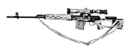 Vector engraved style illustration for posters, decoration and print. Hand drawn sketch of sniper rifle in black isolated on white background. Detailed vintage etching style drawing.