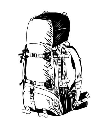 Vector engraved style illustration for posters, decoration and print. Hand drawn sketch of backpack in black isolated on white background. Detailed vintage etching style drawing. 일러스트