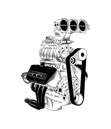 Vector engraved style illustration for posters, decoration and print. Hand drawn sketch of car engine in black isolated on white background. Detailed vintage etching style drawing.