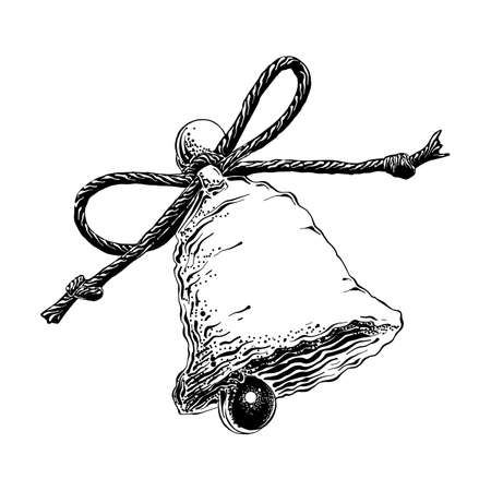 Vector engraved style illustration for posters, decoration and print. Hand drawn sketch of christmas bell in black isolated on white background. Detailed vintage etching style drawing.