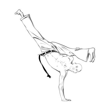 Vector engraved style illustration for posters, decoration and print. Hand drawn sketch of capoeira dancer in black isolated on white background. Detailed vintage etching style drawing.