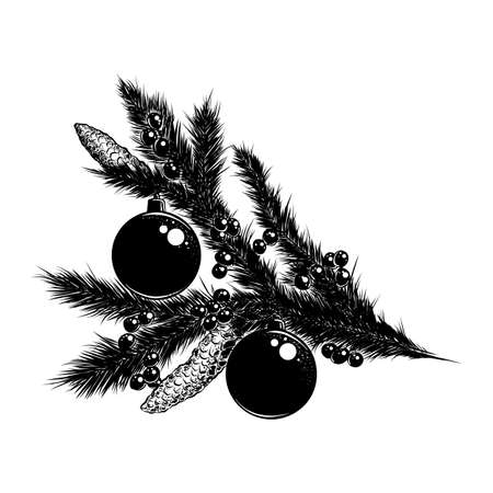 Vector engraved style illustration for posters, decoration and print. Hand drawn sketch of Christmas branch in black isolated on white background. Detailed vintage etching style drawing.