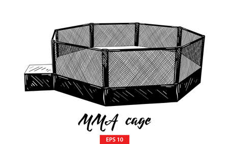 Vector engraved style illustration for posters, decoration and print. Hand drawn sketch of mma cage in black isolated on white background. Detailed vintage etching style drawing. 矢量图像