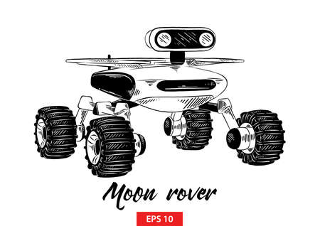 Vector engraved style illustration for posters, decoration and print. Hand drawn sketch of moon rover in black isolated on white background. Detailed vintage etching style drawing.