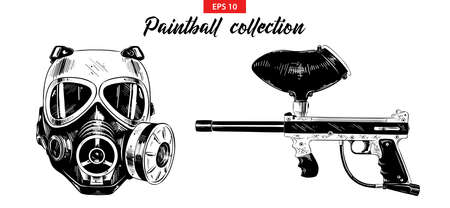 Vector engraved illustration for posters, decoration, print. Hand drawn sketch set of paintball gun and mask isolated on white background. Detailed vintage etching drawing.  イラスト・ベクター素材