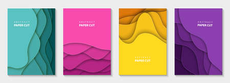 Vertical vector flyers with colorful paper cut waves shapes. 3D abstract paper style, design layout for business presentations, flyers, posters, prints, decoration, cards, brochure cover, banners.