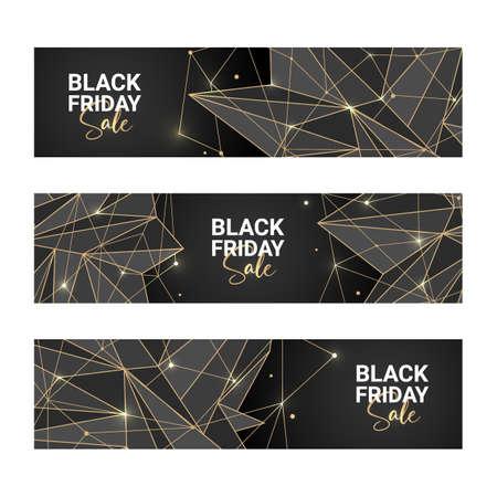 Vector polygonal social media banners for posts, advertising, site decoration, offer, promo, flyer, brochure. Golden poly mesh on black background. Black friday sale. Vektorové ilustrace