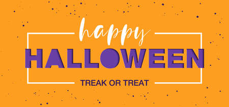 Vector paper cut with words for poster, advertising, banner, site decoration, offer, promo, flyer, brochure. Craft style, modern calligraphy text on orange background. Happy halloween.