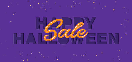 Vector paper cut with words for poster, advertising, banner, site decoration, offer, promo, flyer, brochure. Craft style, modern calligraphy text on violet background. Happy halloween sale.