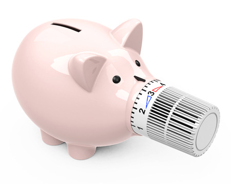 piggy bank with thermostat nose Standard-Bild