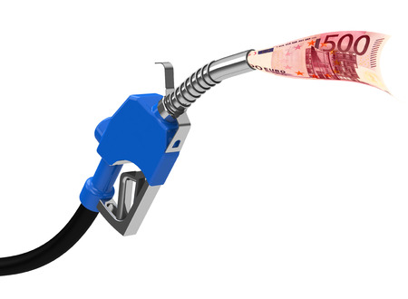 fuel nozzle with 500 Euro note photo