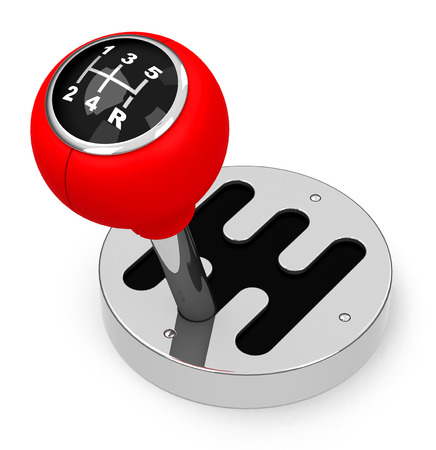 gearstick: The red gearstick Stock Photo