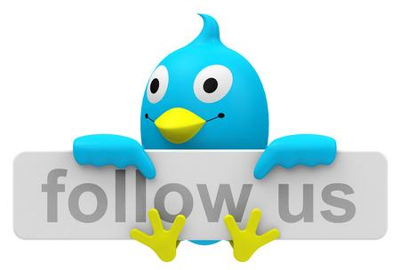 Blue bird with follow us sign Stockfoto
