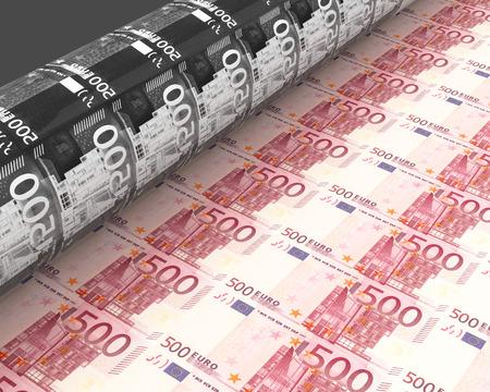 dinero euros: impresión de dinero Foto de archivo