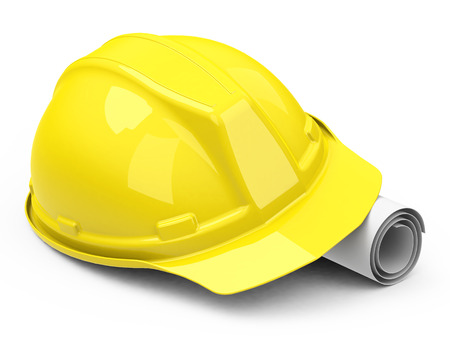 helmet and construction drawing
